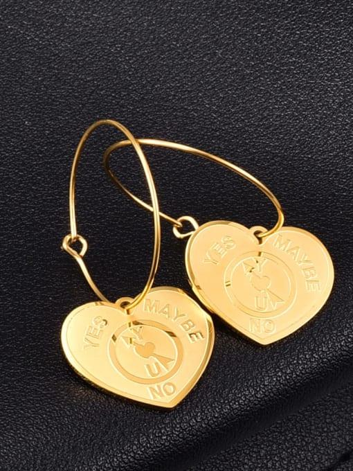 18K Gold Circle Titanium Steel Heart Vintage Huggie Earring