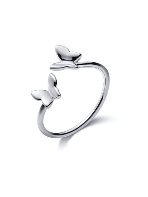 Rosh 925 Sterling Silver  Smooth  Butterfly Minimalist Band Ring 4