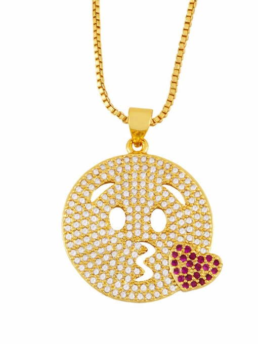 B Brass Cubic Zirconia Smiley Vintage Necklace