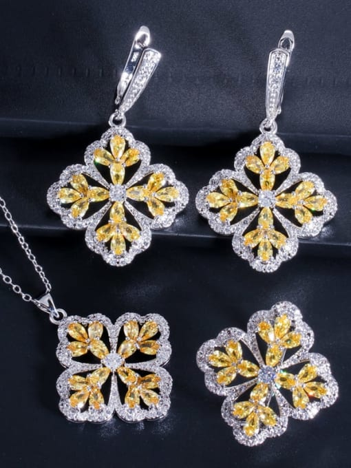 Yellow ring size 7 Brass Cubic Zirconia Luxury Flower  Earring Ring and Necklace Set