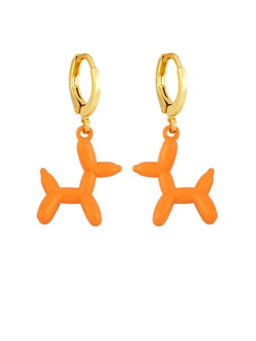 orange Brass Enamel Dog Cute Huggie Earring