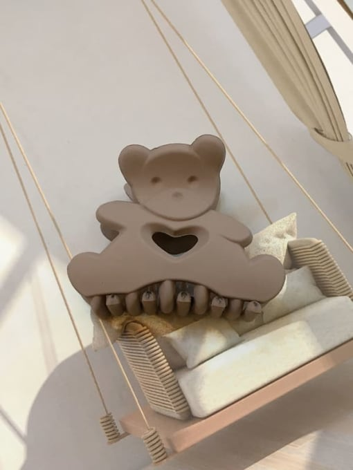 Frosted dark brown Alloy Resin Cute Panda Jaw Hair Claw