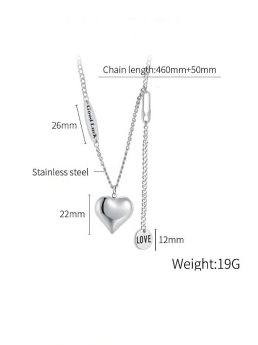 Open Sky Titanium Steel Heart Minimalist Lariat Necklace 4