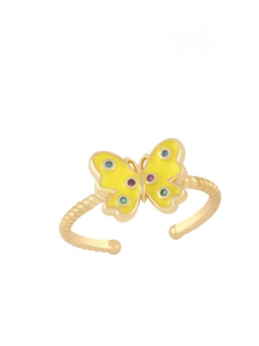 CC Brass Enamel Butterfly Minimalist Band Ring 2