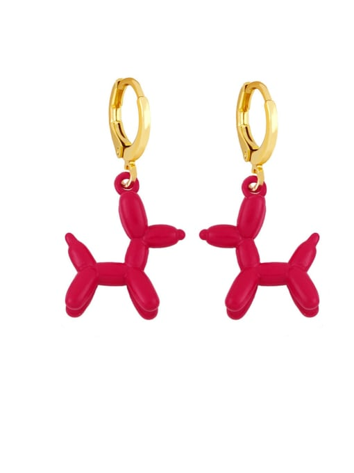 red Brass Enamel Dog Cute Huggie Earring