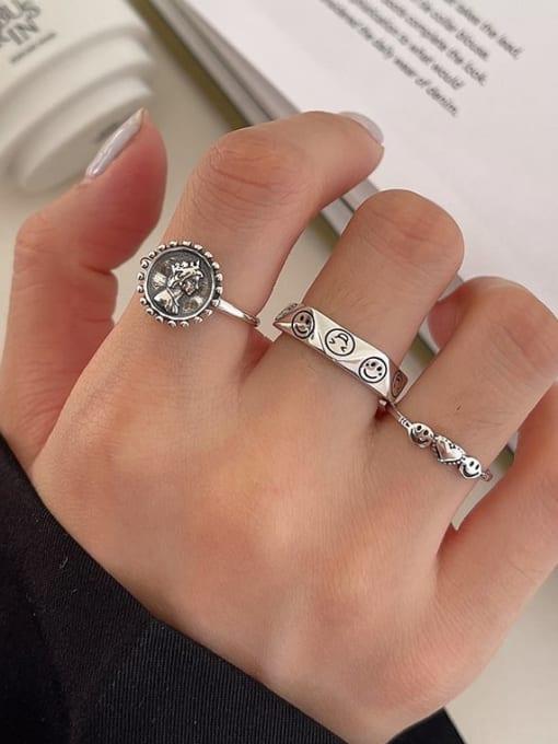 LI MUMU 925 Sterling Silver Hollow Irregular Vintage Band Ring 3