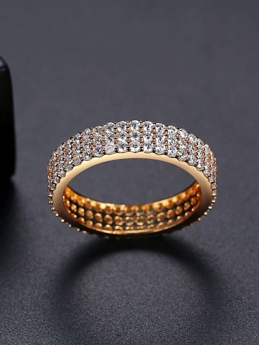 BLING SU Brass Cubic Zirconia Round Minimalist Band Ring 2
