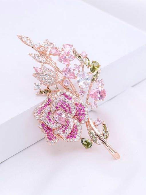 Rose Gold dark Brass Cubic Zirconia Flower Statement Brooch