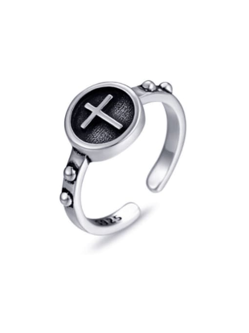 Boomer Cat 925 Sterling Silver Cross Vintage Band Ring 0