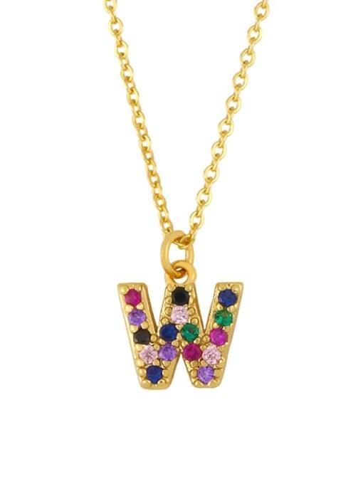 W Brass Cubic Zirconia Letter Vintage Necklace