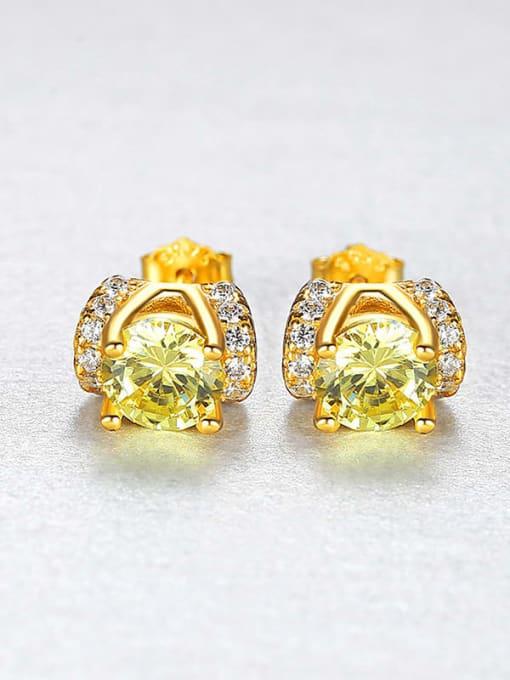 18K gold 925 Sterling Silver Cubic Zirconia Geometric Minimalist Stud Earring
