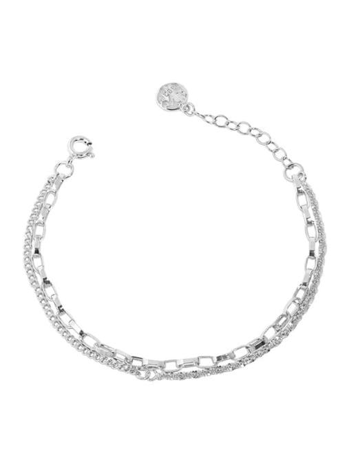 silver 925 Sterling Silver Irregular Minimalist Strand Bracelet