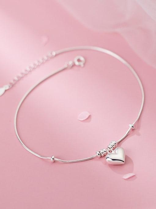 Rosh 925 Sterling Silver Heart Minimalist Link Bracelet 1