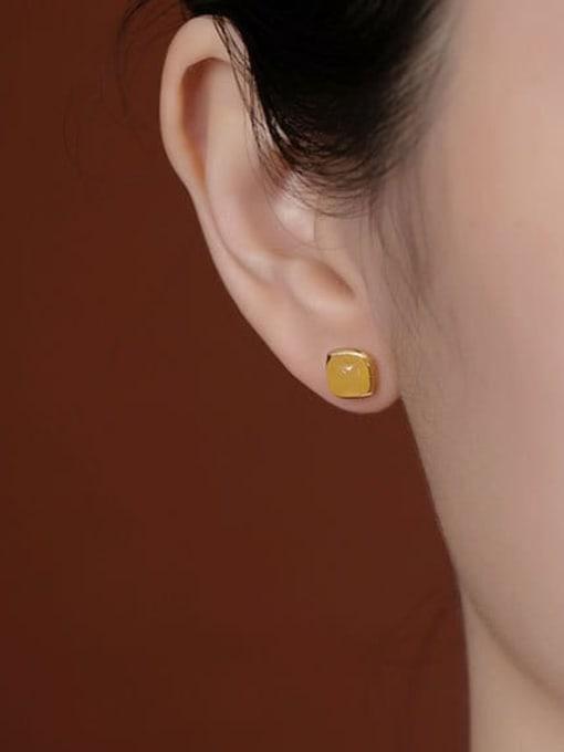 DEER 925 Sterling Silver Amber Square Minimalist Stud Earring 1