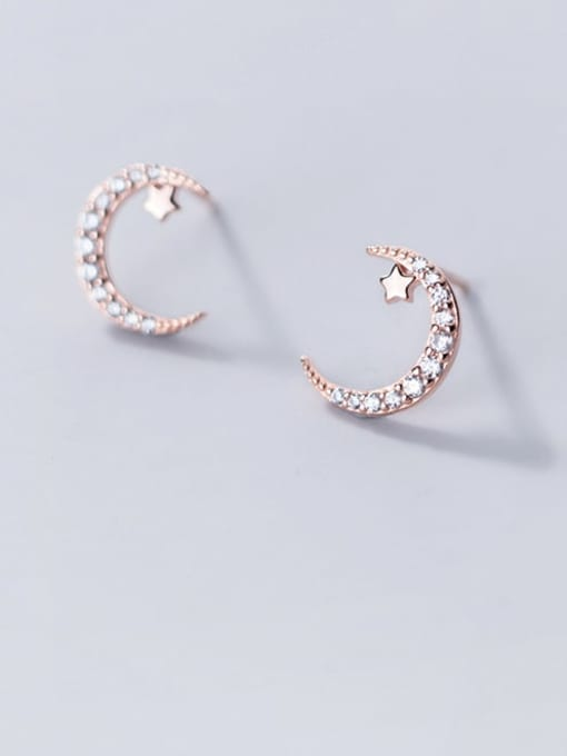 Rosh 925 Sterling Silver Rhinestone Moon Minimalist Stud Earring