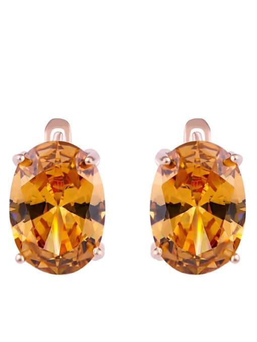 golden Alloy Glass Stone Rosary Bohemia Stud Earring