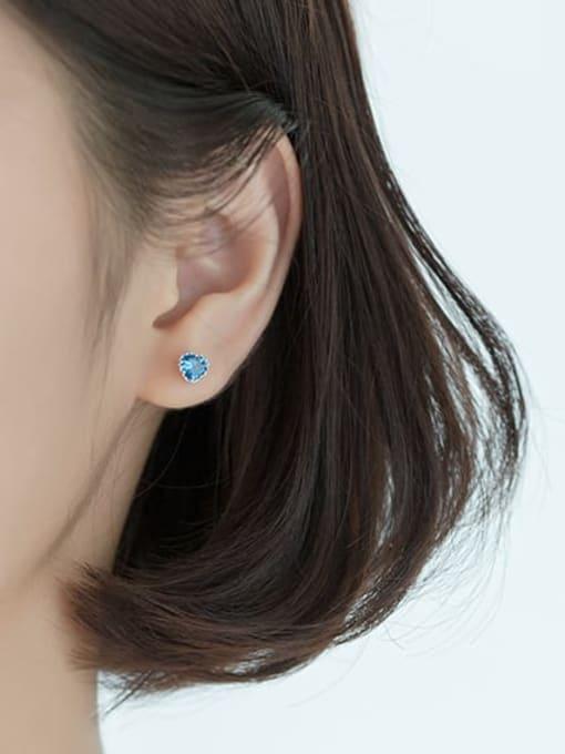 Rosh 925 Sterling Silver Cubic Zirconia Heart Minimalist Stud Earring 1