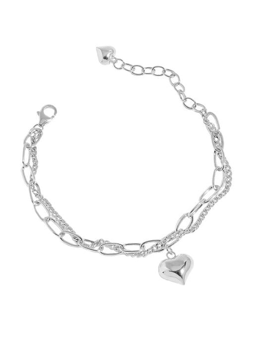 silver 925 Sterling Silver Heart Vintage Strand Bracelet