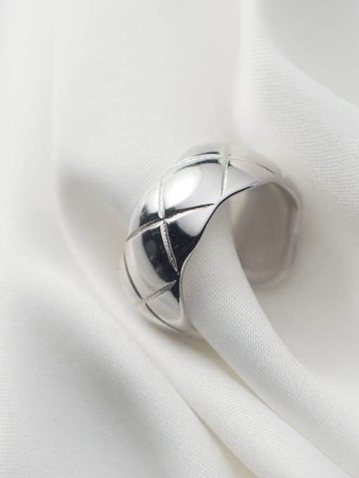Rosh 925 Sterling Silver Geometric Rhombus Vintage Band Ring 3