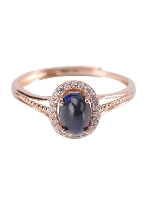 DEER 925 Sterling Silver Opal Oval Vintage Band Ring 0