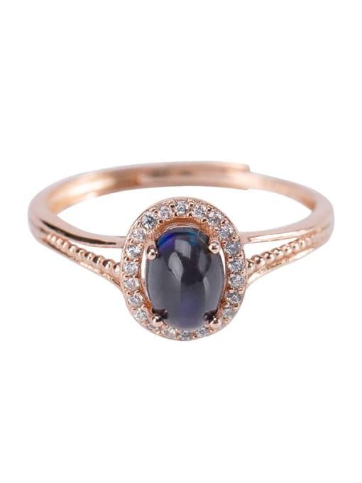 DEER 925 Sterling Silver Opal Oval Vintage Band Ring