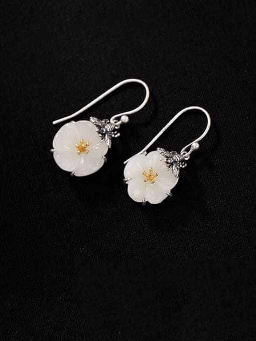 DEER 925 Sterling Silver Jade Flower Vintage Hook Earring 0