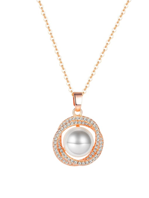 1848 rose gold plated necklace Titanium Steel Cubic Zirconia Flower Dainty Necklace