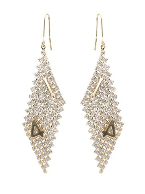 golden Brass Cubic Zirconia Geometric Minimalist Hook Earring