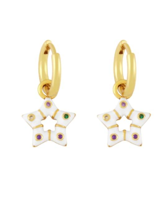 white Brass Multi Color Enamel Star Vintage Huggie Earring