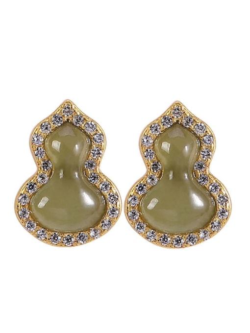 DEER 925 Sterling Silver Jade Irregular Vintage Drop Earring 3