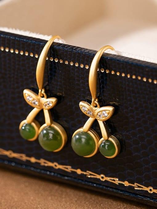 Jasper 925 Sterling Silver Carnelian Friut Vintage Hook Earring