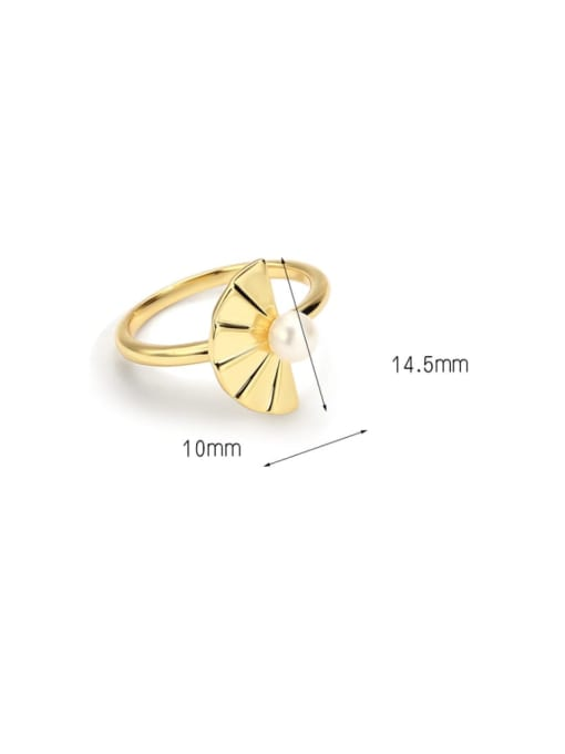 CHARME Brass Imitation Pearl Irregular Minimalist Band Ring 3