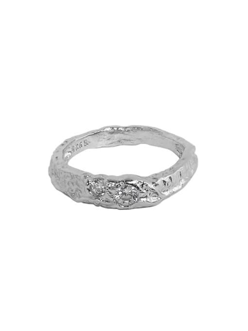 Platinum 925 Sterling Silver Rhinestone Irregular Minimalist Band Ring