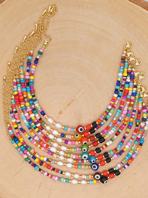 Roxi Titanium Steel Geometric Bohemia  Bead Multi Color Anklet