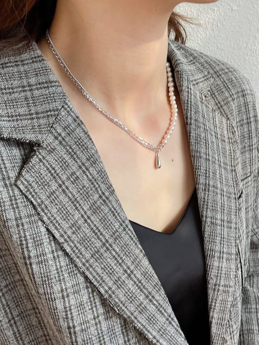 Boomer Cat 925 Sterling Silver Imitation Pearl Water Drop Minimalist Necklace 2