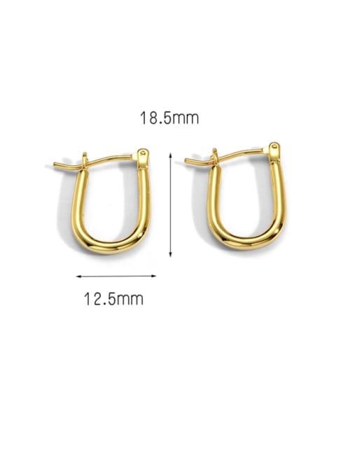 CHARME Brass Hollow  Geometric Minimalist Stud Earring 3