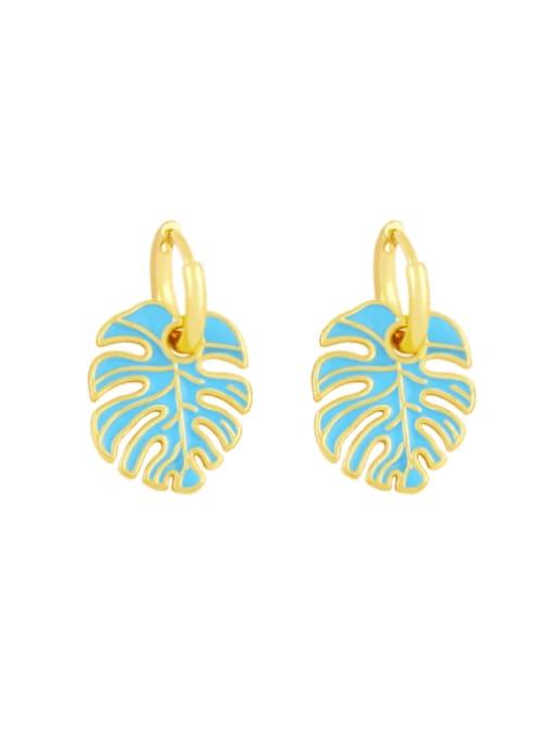 blue Brass Enamel Tree  Leaf  Vintage Huggie Earring