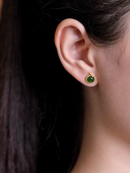 DEER 925 Sterling Silver Jade Round Minimalist Stud Earring 1