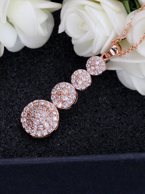 L.WIN Brass Cubic Zirconia Classic Geometric  Earring and Necklace Set 4