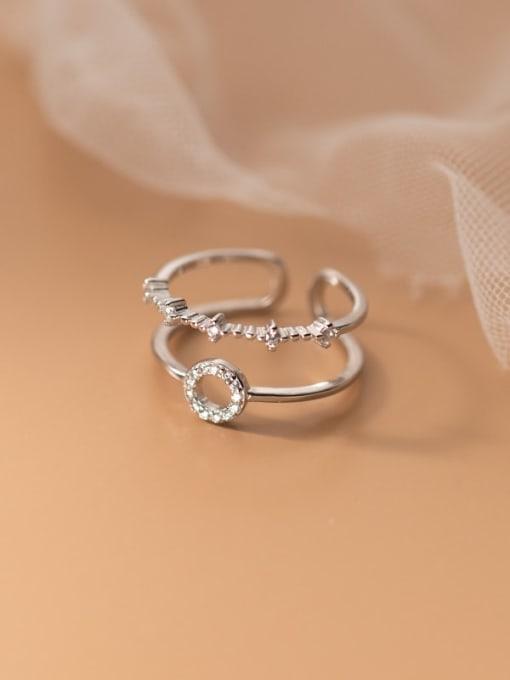 Rosh 925 Sterling Silver Rhinestone Geometric Minimalist Stackable Ring
