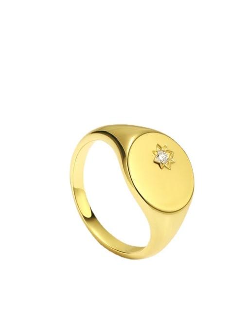 CHARME Brass Rhinestone Geometric Minimalist Band Ring 3