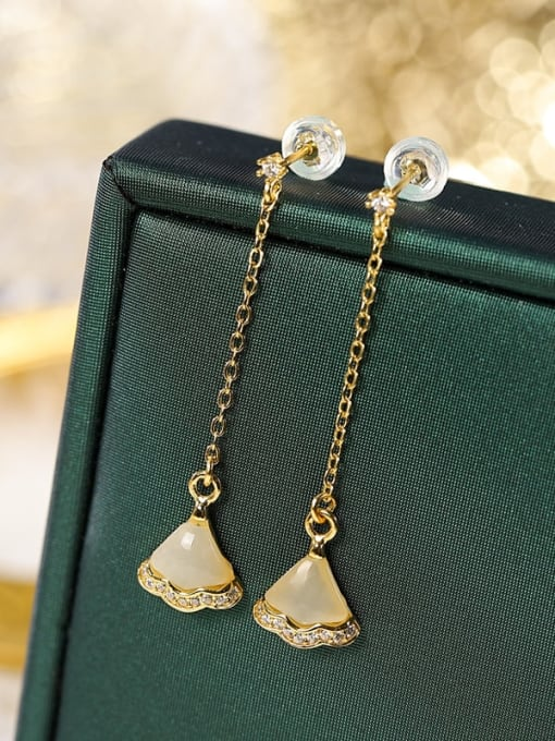 Hotan jade 925 Sterling Silver Jade Irregular Vintage Drop Earring