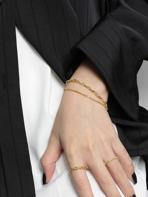 DAKA 925 Sterling Silver Irregular Minimalist Strand Bracelet 2
