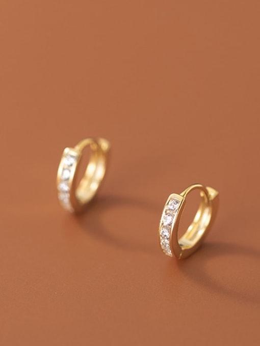 Rosh 925 Sterling Silver Cubic Zirconia Geometric Minimalist Huggie Earring 1