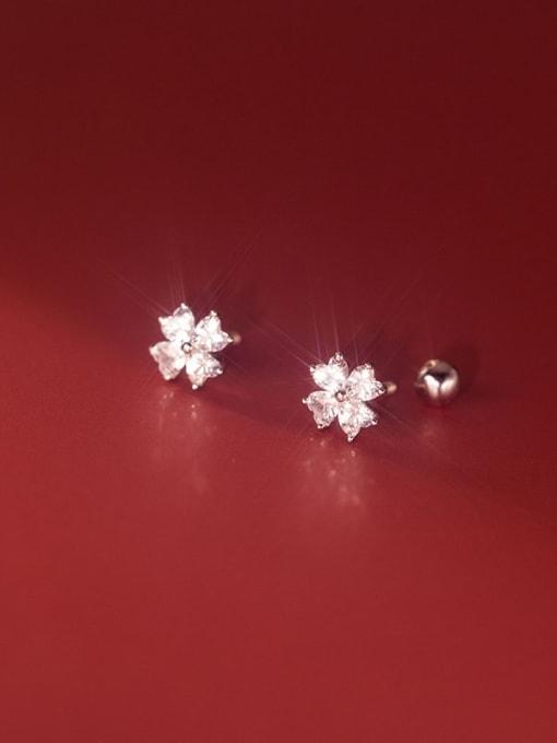 Rosh 925 Sterling Silver Cubic Zirconia Flower Minimalist Stud Earring