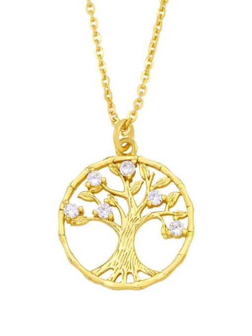CC Brass Cubic Zirconia Tree Vintage Necklace