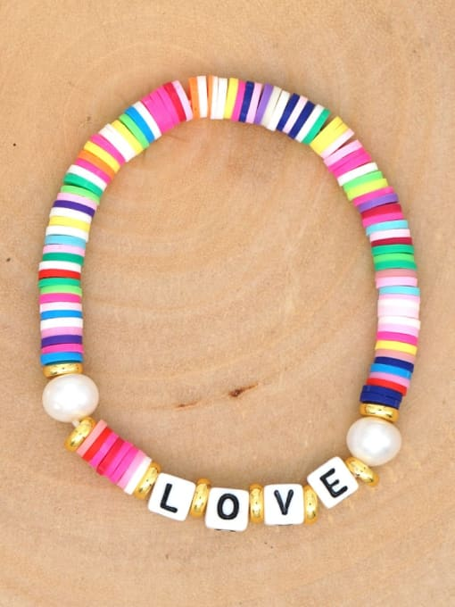 QT B200144A Stainless steel Multi Color Polymer Clay Letter Bohemia Stretch Bracelet