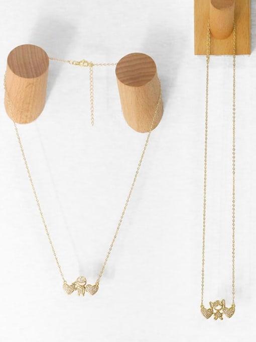 CC Brass Cubic Zirconia Angel Hip Hop Necklace 3