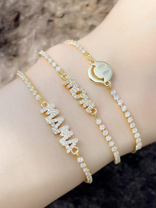 CC Brass Cubic Zirconia Letter Minimalist Adjustable Bracelet 0