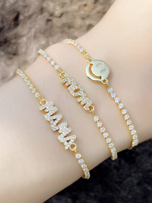CC Brass Cubic Zirconia Letter Minimalist Adjustable Bracelet